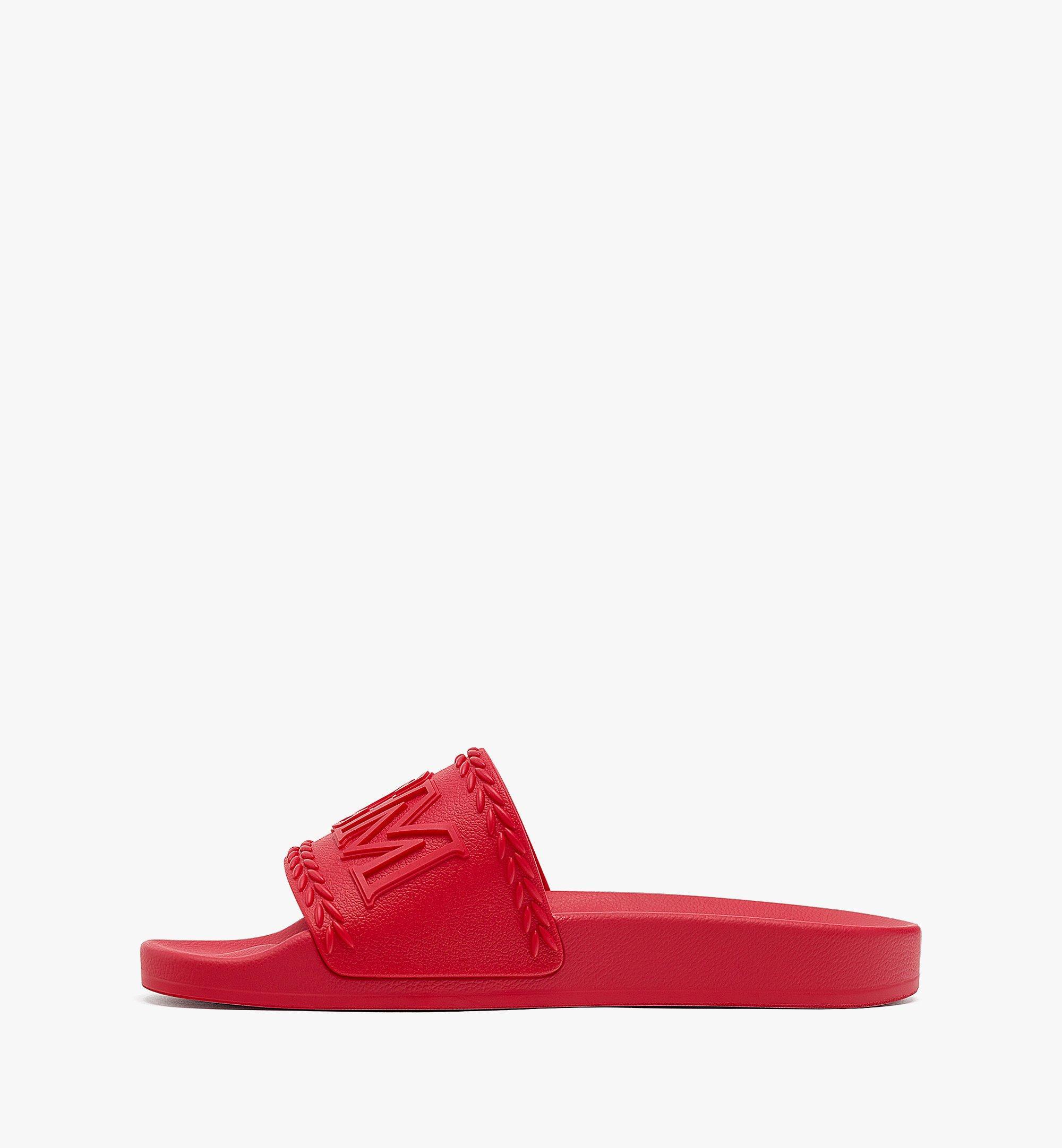MCM 女士 Big Logo 橡膠拖鞋 Red MESBSMM15R0036 更多視圖 1