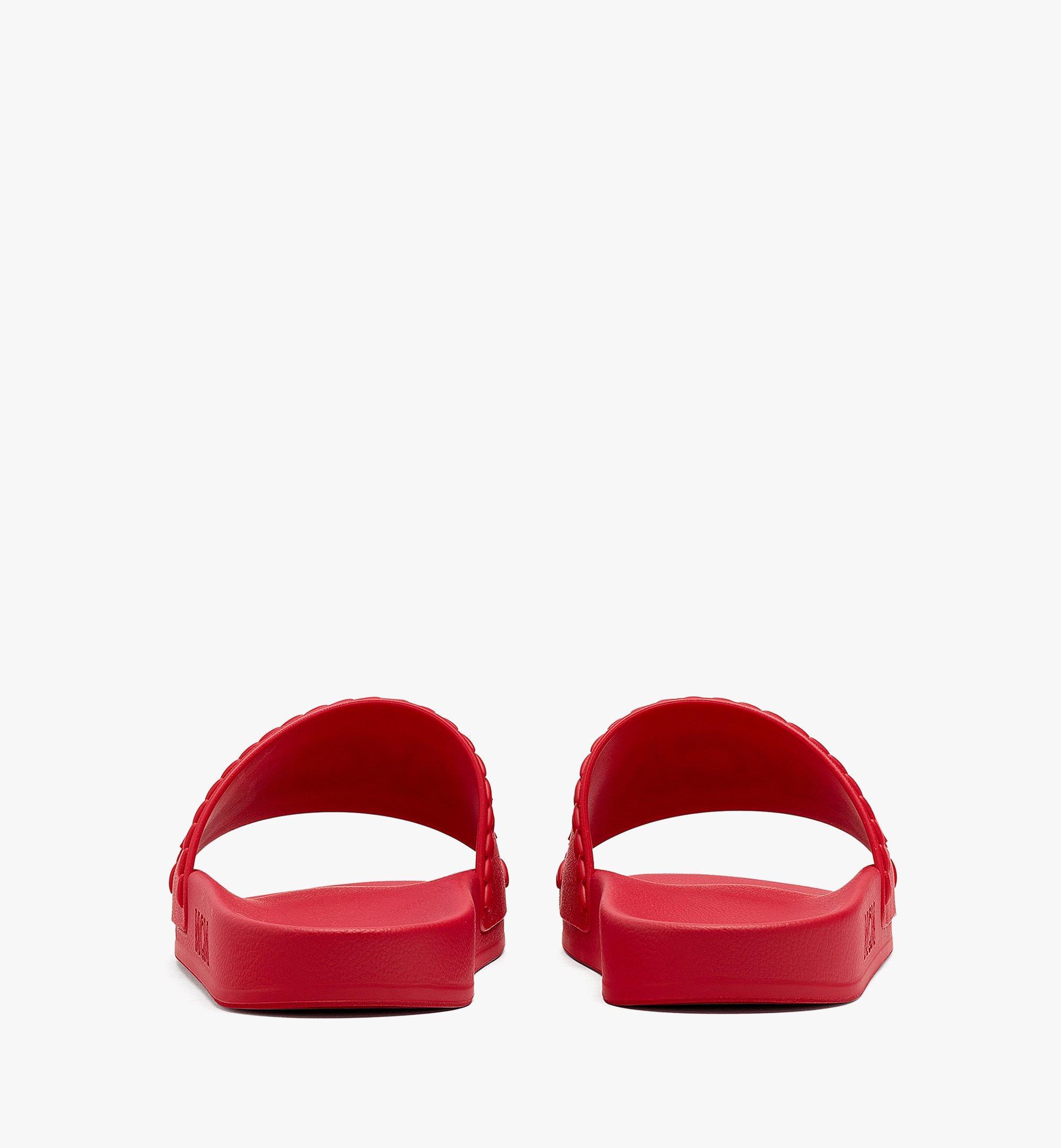 MCM 女士 Big Logo 橡膠拖鞋 Red MESBSMM15R0036 更多視圖 2