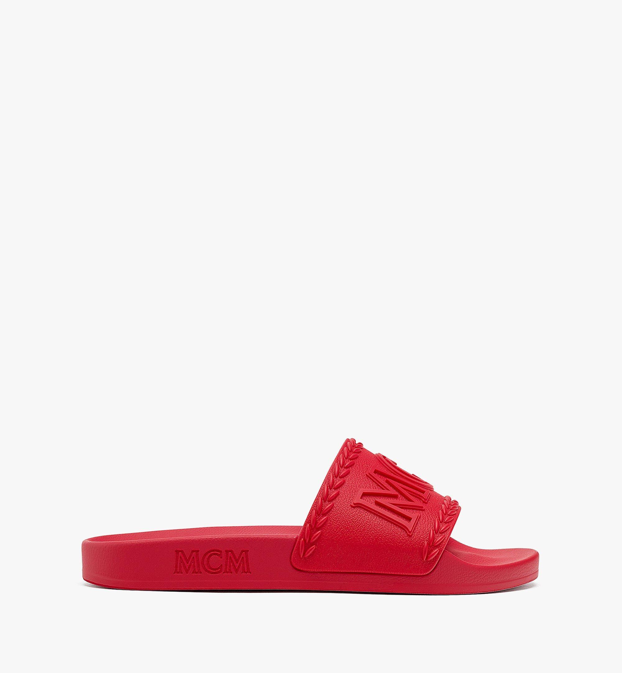 MCM 女士 Big Logo 橡膠拖鞋 Red MESBSMM15R0036 更多視圖 3