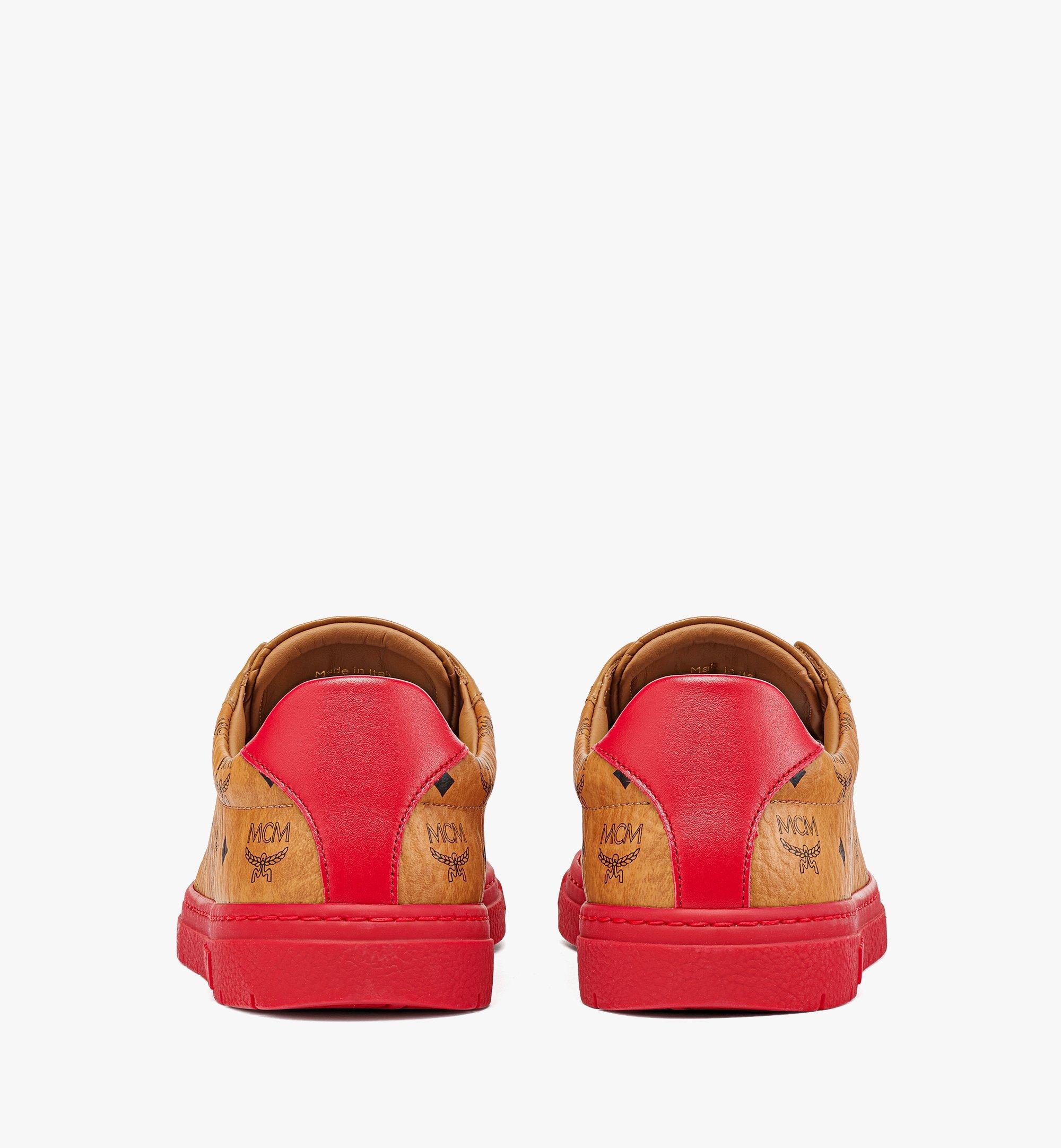 MCM Women's Color Block Terrain Lo Sneakers in Visetos Red MESCSMM01R0038 Alternate View 2
