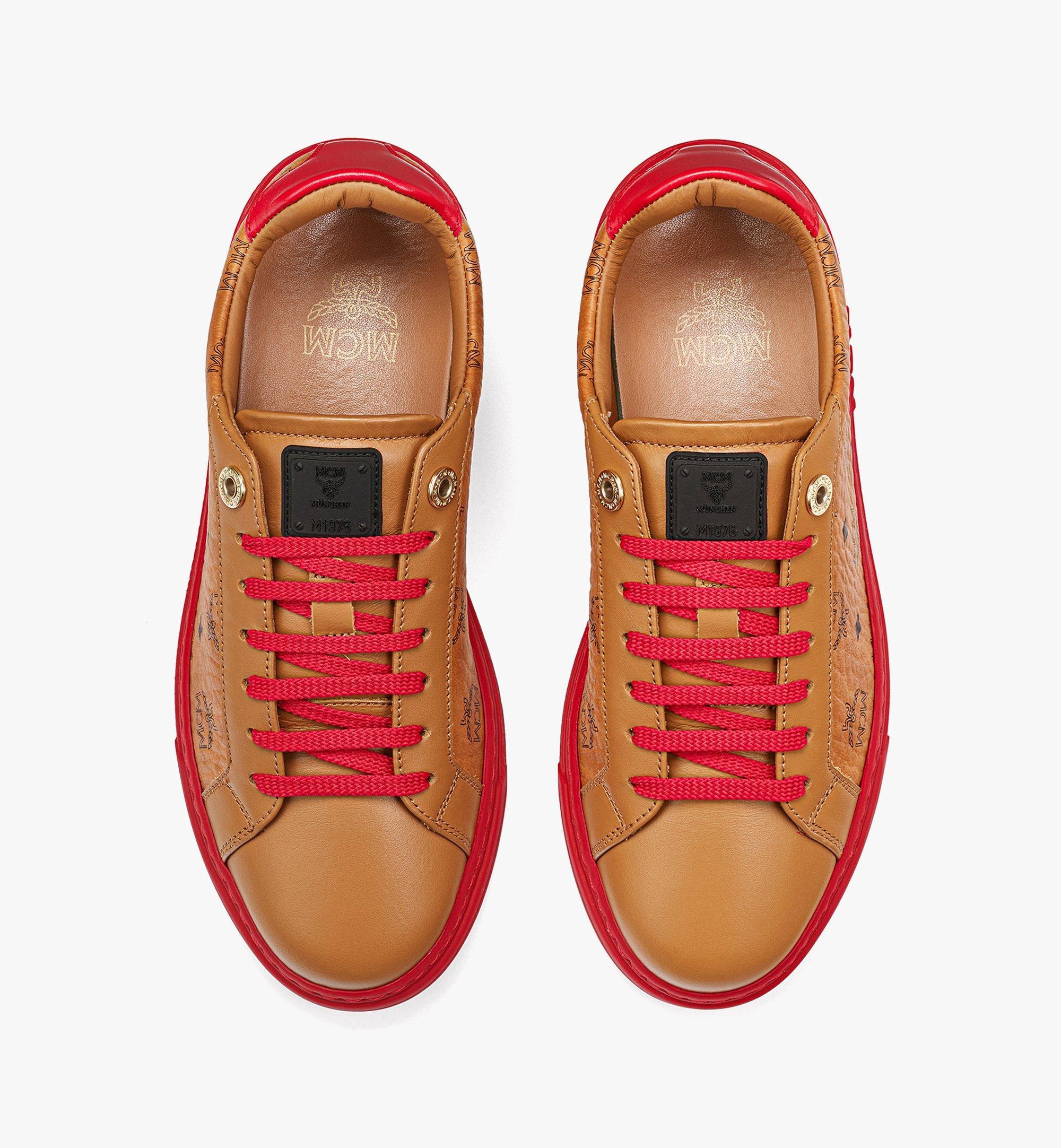 MCM Women's Color Block Terrain Lo Sneakers in Visetos Red MESCSMM01R0038 Alternate View 4