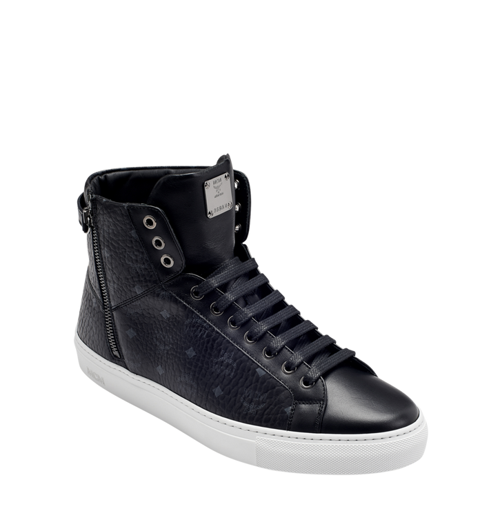 MCM Men's High Top Turnlock Sneakers in Visetos MEX7AMM02BK042 AlternateView