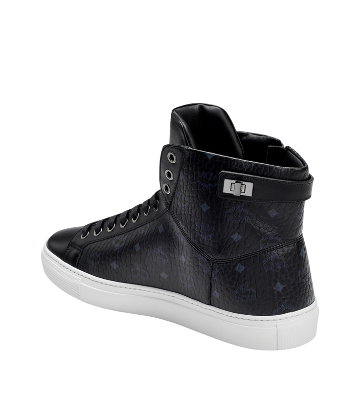 MCM Men's High Top Turnlock Sneakers in Visetos MEX7AMM02BK042 AlternateView2