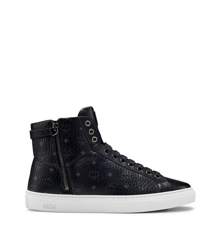 MCM Men's High Top Turnlock Sneakers in Visetos MEX7AMM02BK043 AlternateView3