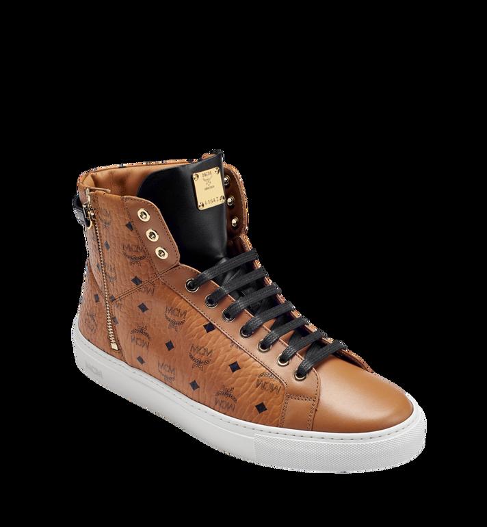 MCM Men's High Top Turnlock Sneakers in Visetos MEX7AMM02CO041 AlternateView