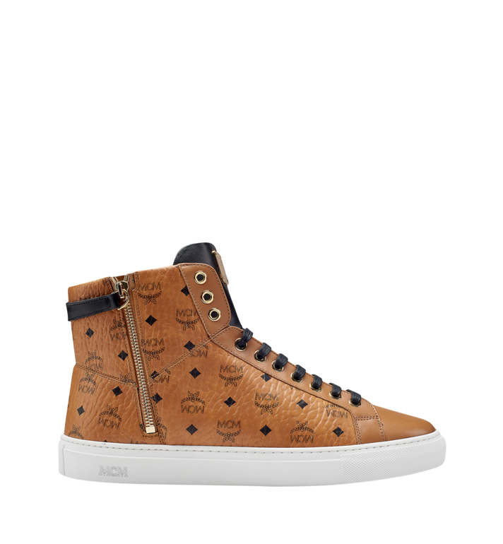 MCM Men's High Top Turnlock Sneakers in Visetos MEX7AMM02CO043 AlternateView3