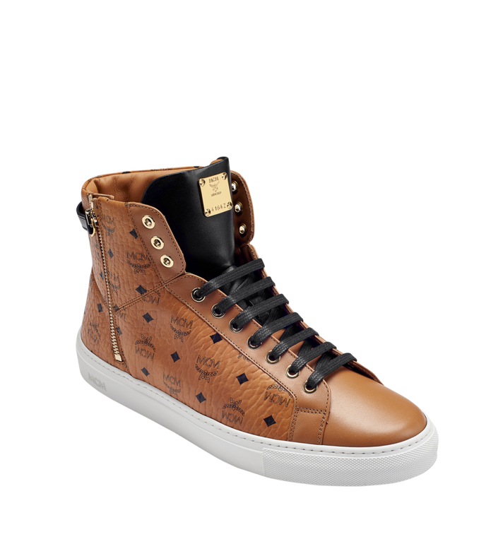MCM Men's High Top Turnlock Sneakers in Visetos MEX7AMM02CO045 AlternateView