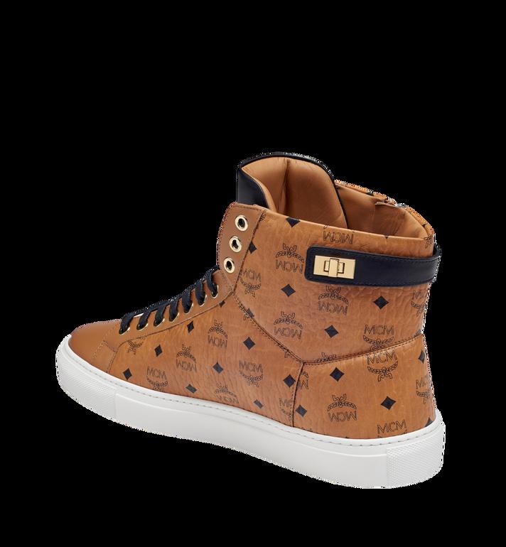 MCM Men's High Top Turnlock Sneakers in Visetos MEX7AMM02CO046 AlternateView2