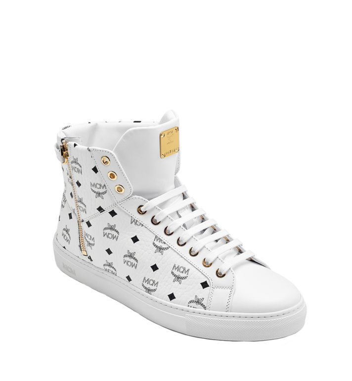 MCM Men's High Top Turnlock Sneakers in Visetos Alternate View 1