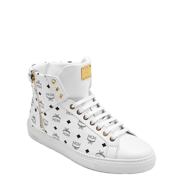 MCM Men's High Top Turnlock Sneakers in Visetos AlternateView