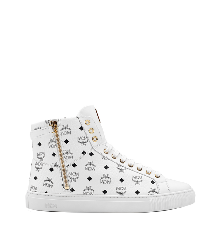MCM Men's High Top Turnlock Sneakers in Visetos Alternate View 3
