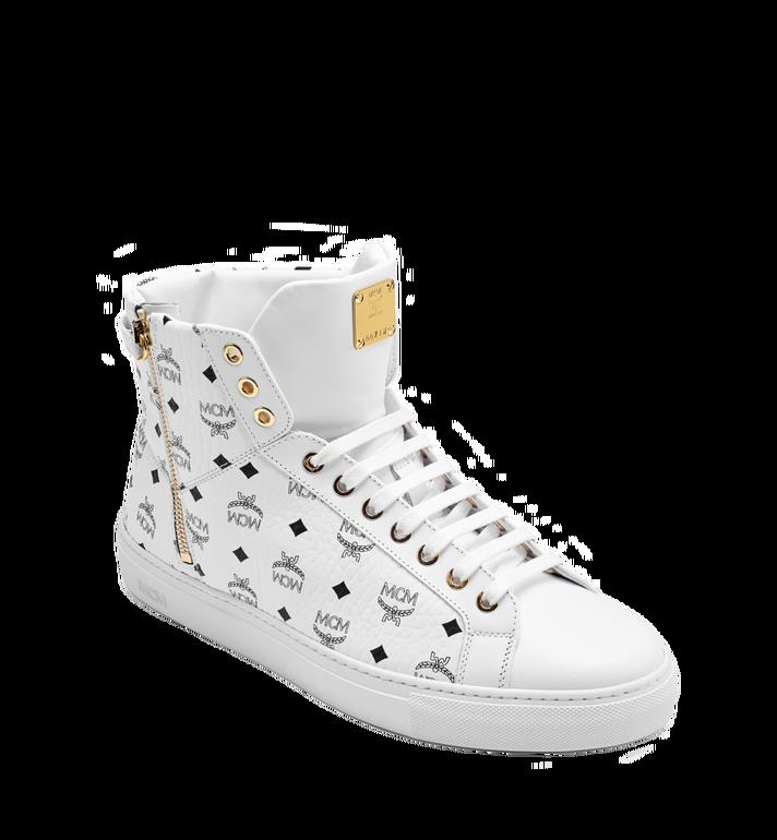 MCM Men's High Top Turnlock Sneakers in Visetos MEX7AMM02WT042 AlternateView