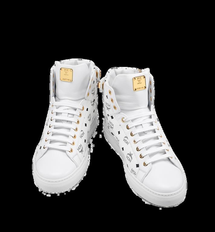 MCM Men's High Top Turnlock Sneakers in Visetos MEX7AMM02WT042 AlternateView5