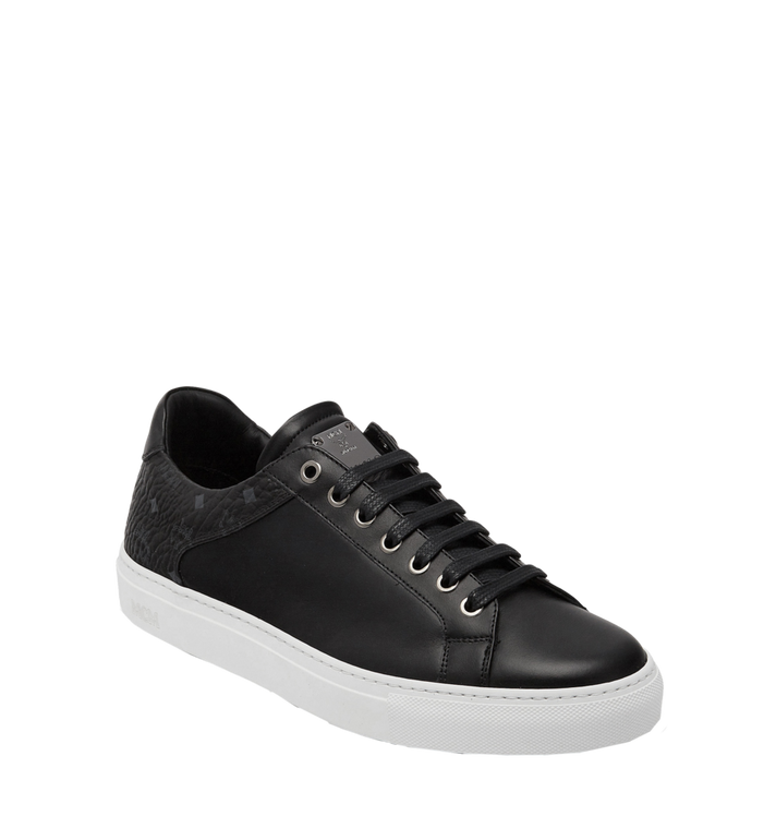 MCM Men's Low Top Classic Sneakers in Leather MEX7S2I03BK041 AlternateView