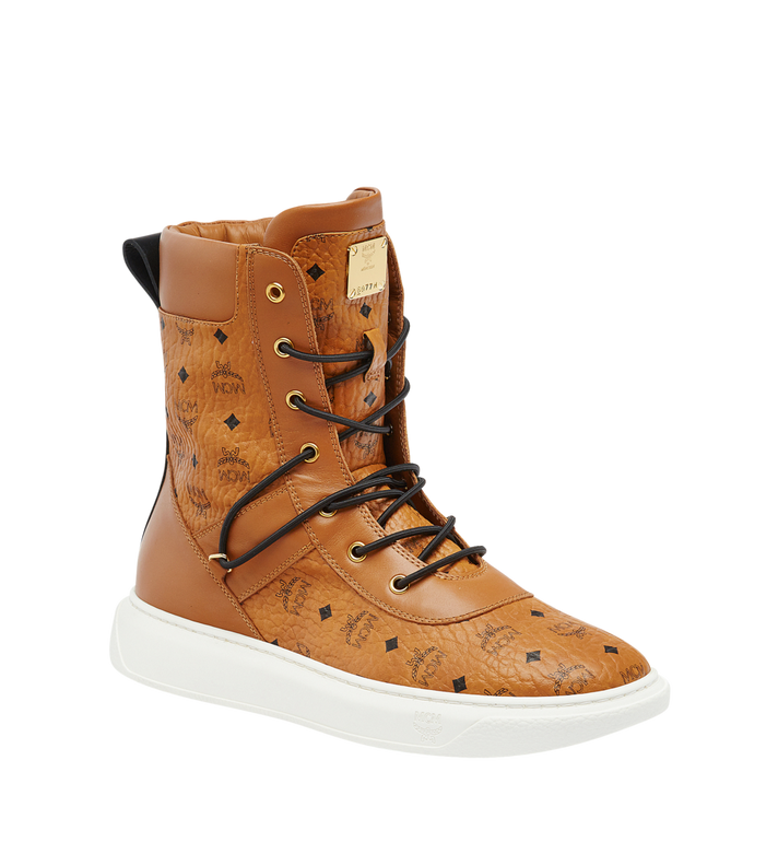MCM Men's Lace Up Boots in Visetos Alternate View