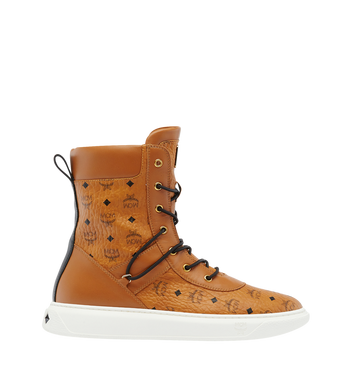 MCM Men's Lace Up Boots in Visetos AlternateView2