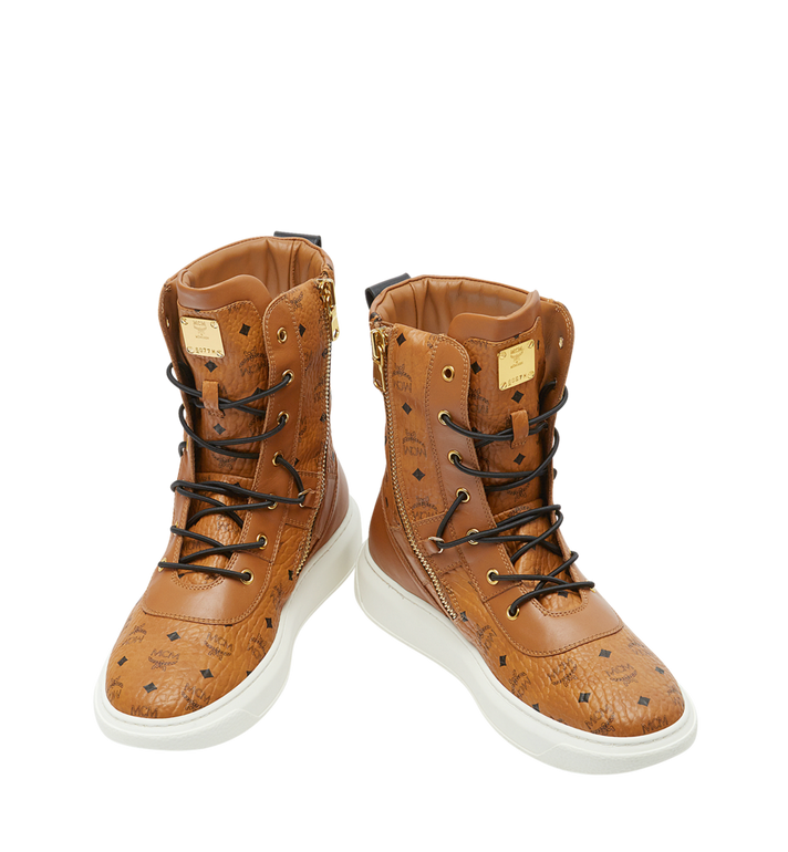 MCM Men's Lace Up Boots in Visetos Alternate View 4