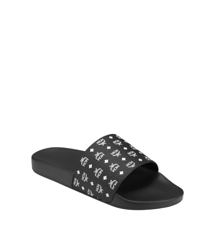 MCM Men's Monogram Print Rubber Slides MEX8AMM60BK041 AlternateView