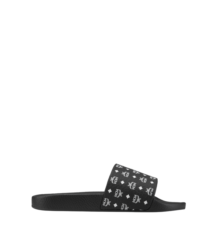 MCM Men's Monogram Print Rubber Slides Black MEX8AMM60BK041 Alternate View 3