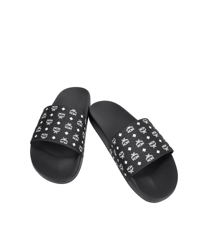 MCM Men's Monogram Print Rubber Slides Black MEX8AMM60BK041 Alternate View 4