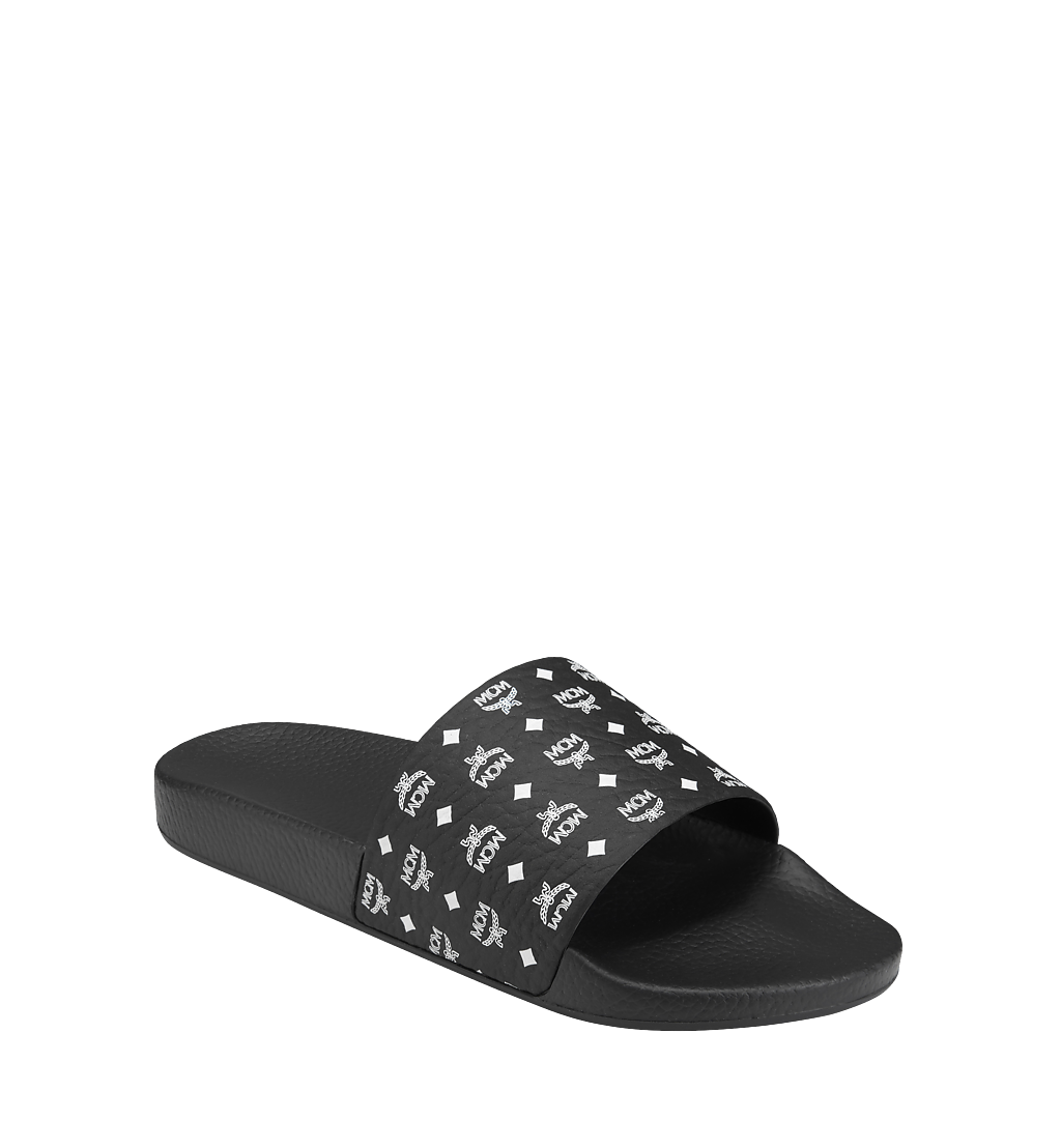 MCM Men's Monogram Print Rubber Slides Black MEX8AMM60BK042 Alternate View 1