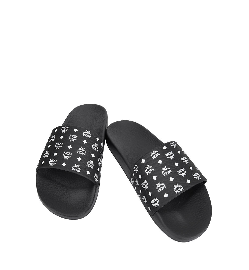 MCM Men's Monogram Print Rubber Slides Black MEX8AMM60BK042 Alternate View 3