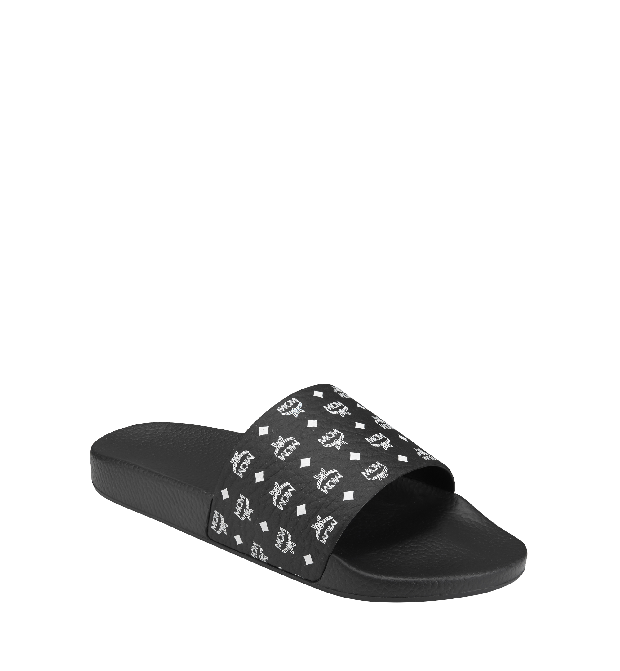 MCM Men's Visetos Rubber Slides Black MEX8AMM60BK044 Alternate View 1