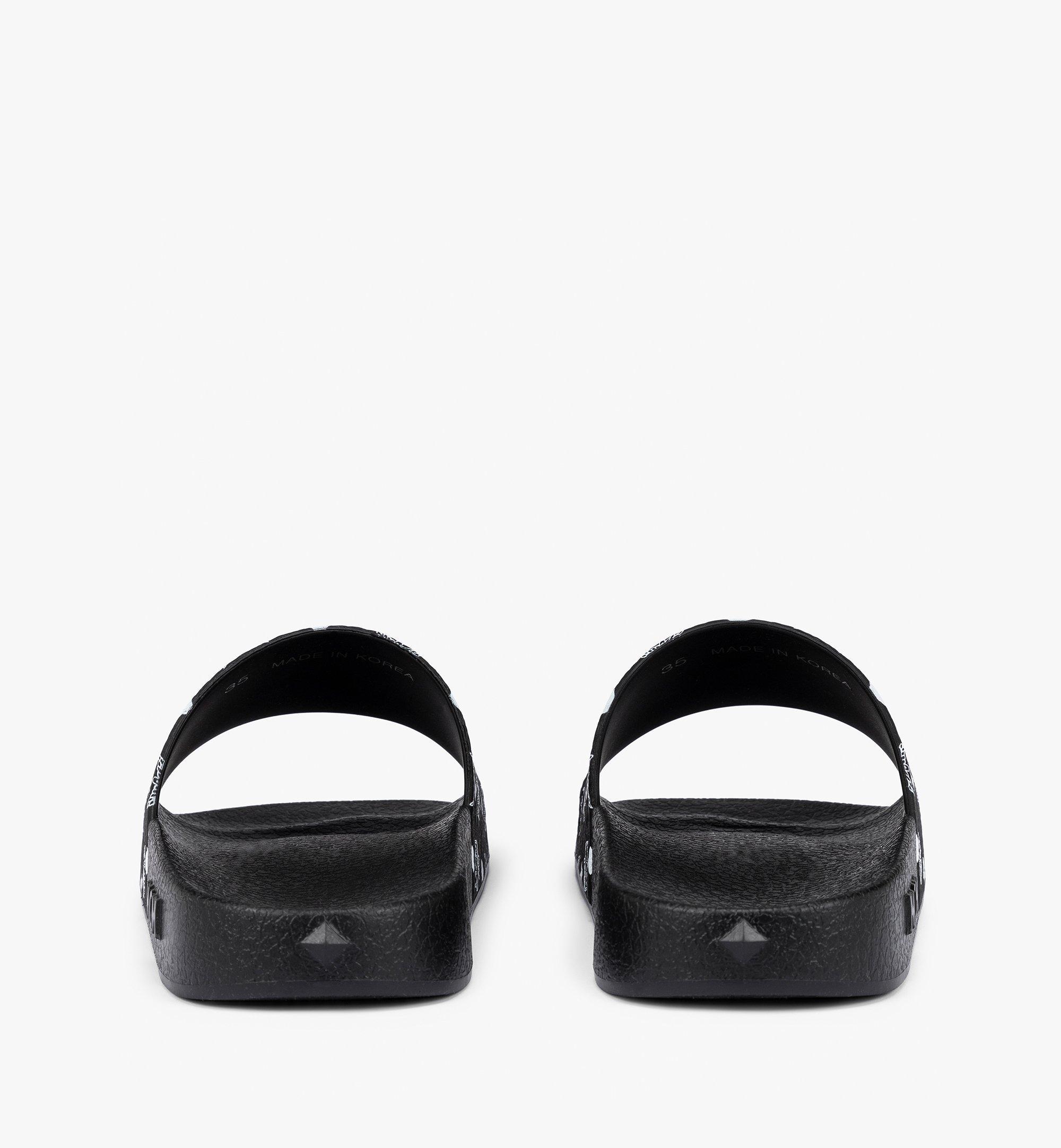 MCM Men's Visetos Rubber Slides Black MEX8AMM60BK044 Alternate View 2