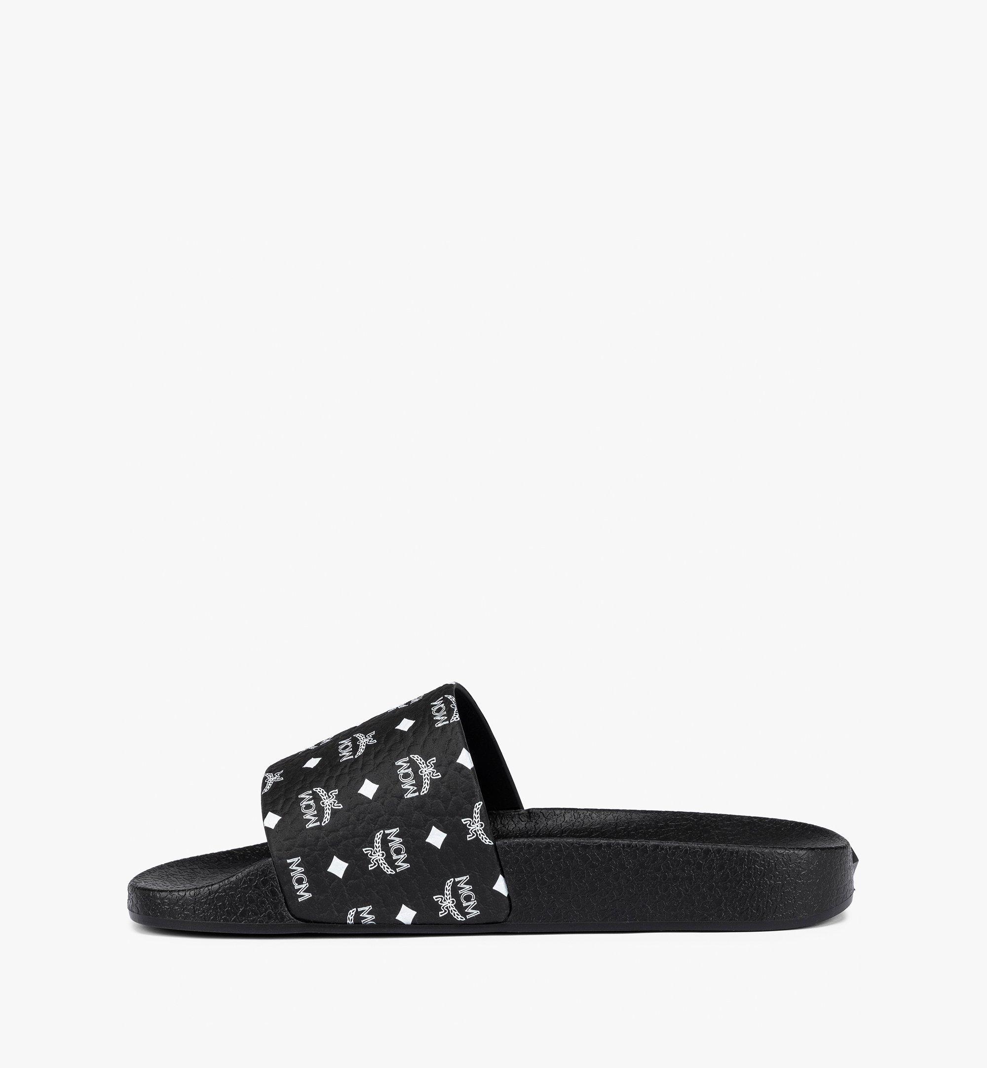 MCM Men's Visetos Rubber Slides Black MEX8AMM60BK044 Alternate View 3