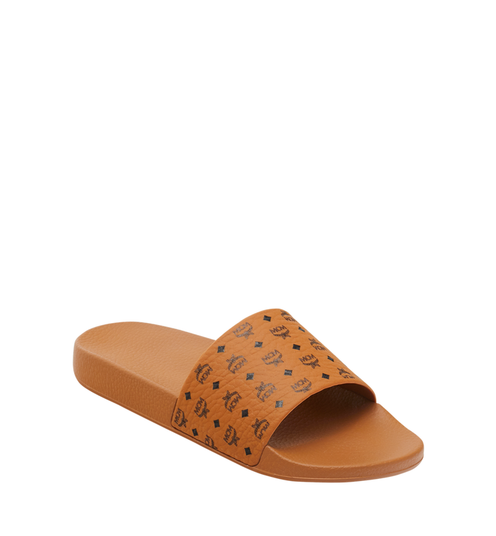 MCM Men's Monogram Print Rubber Slides Alternate View