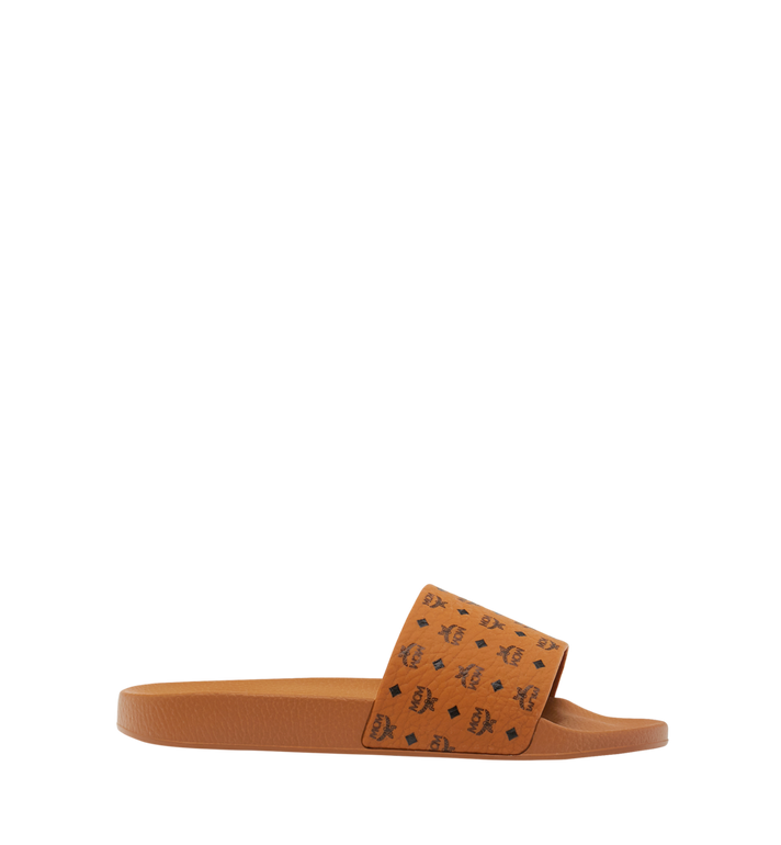 MCM Men's Monogram Print Rubber Slides Cognac MEX8AMM60CO045 Alternate View 2