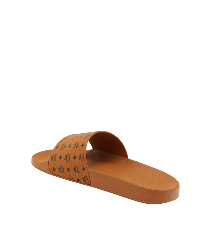 MCM Men's Monogram Print Rubber Slides Cognac MEX8AMM60CO045 Alternate View 3