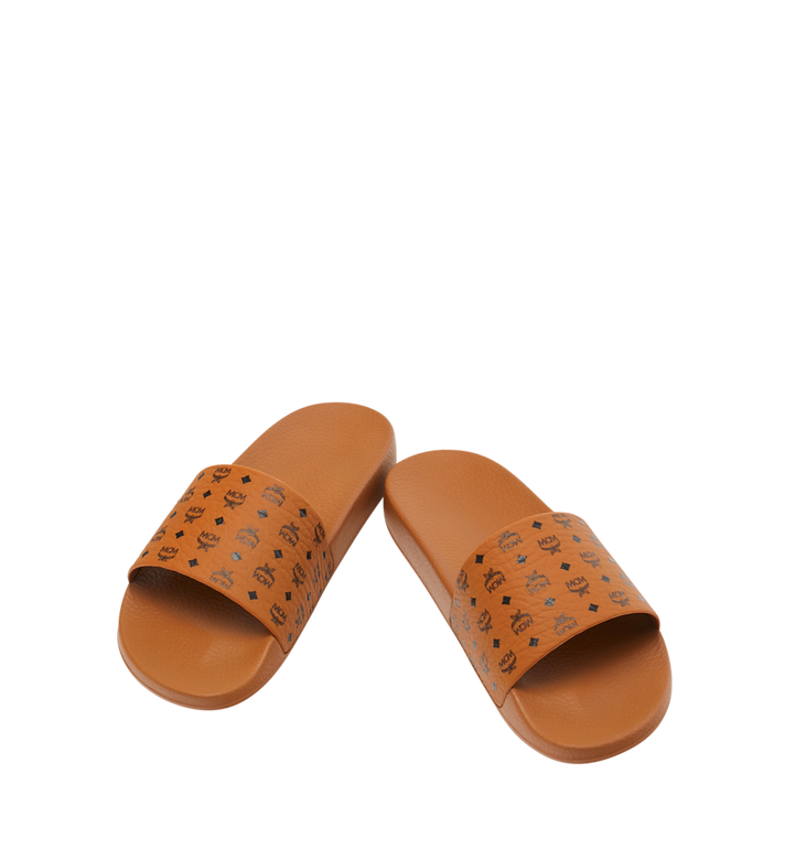 MCM Men's Monogram Print Rubber Slides Cognac MEX8AMM60CO045 Alternate View 4