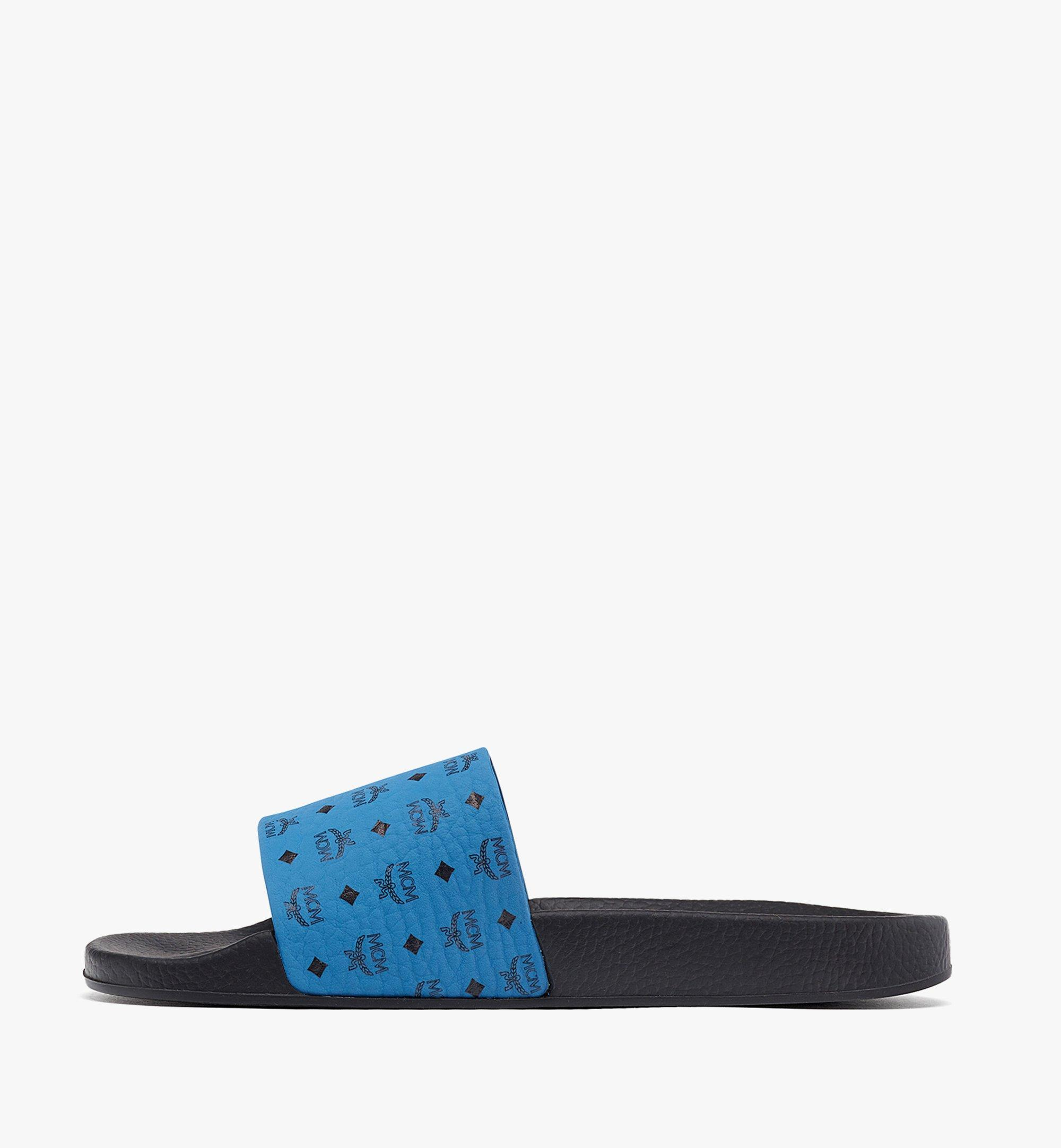 MCM Men's Visetos Rubber Slides Blue MEX8AMM60H9041 Alternate View 1