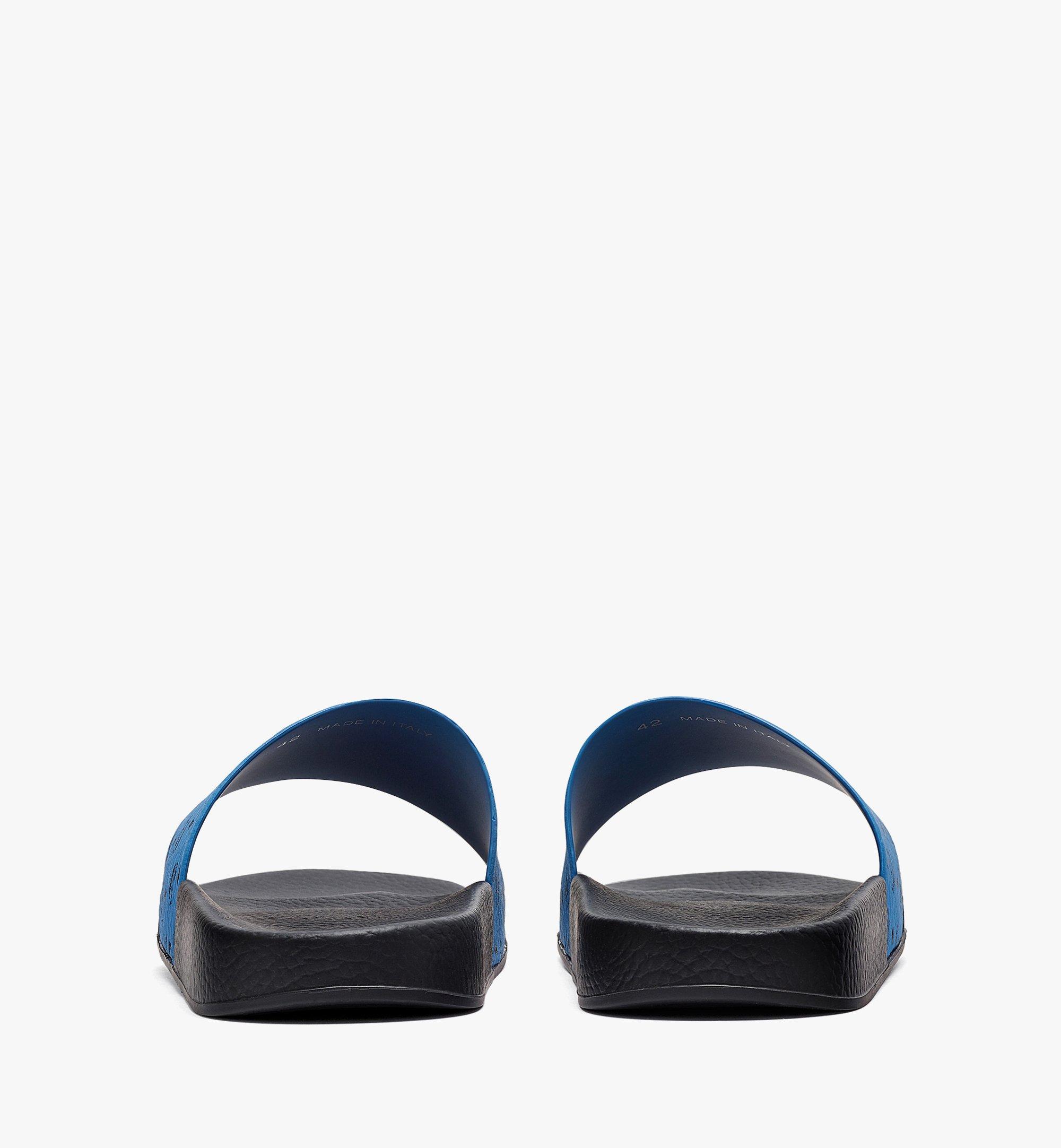 MCM Men's Visetos Rubber Slides Blue MEX8AMM60H9041 Alternate View 2