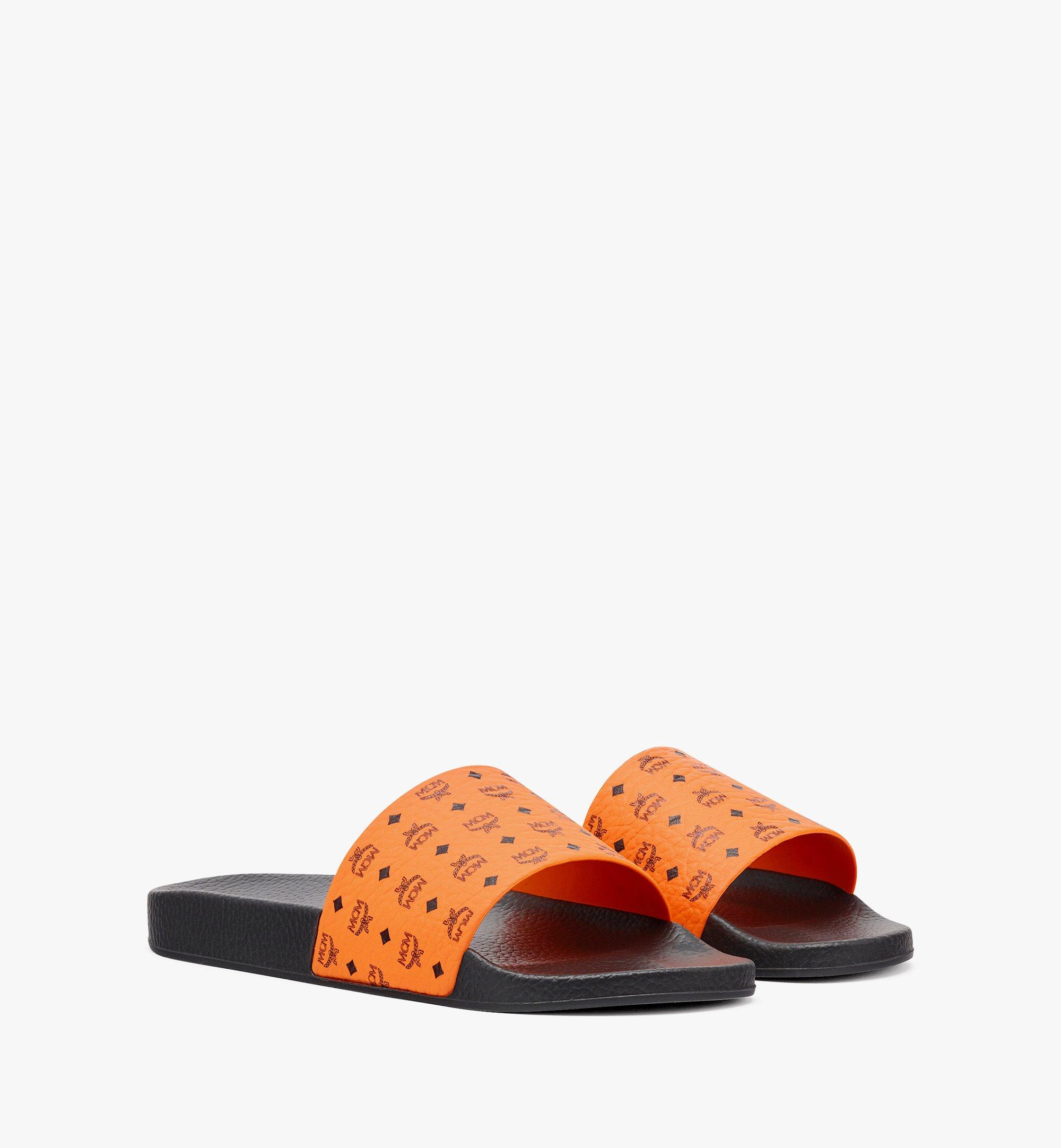 MCM Men's Visetos Rubber Slides Orange MEX8AMM60O9045 Alternate View 1