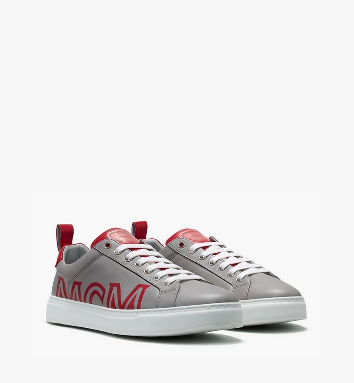 MCM Low Top Herrensneaker aus gummiertem Leder mit Logo Alternate View