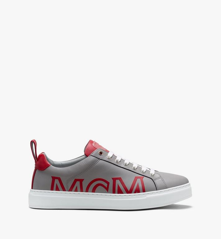 MCM Low Top Herrensneaker aus gummiertem Leder mit Logo  MEX9AMM16EG045 Alternate View 2