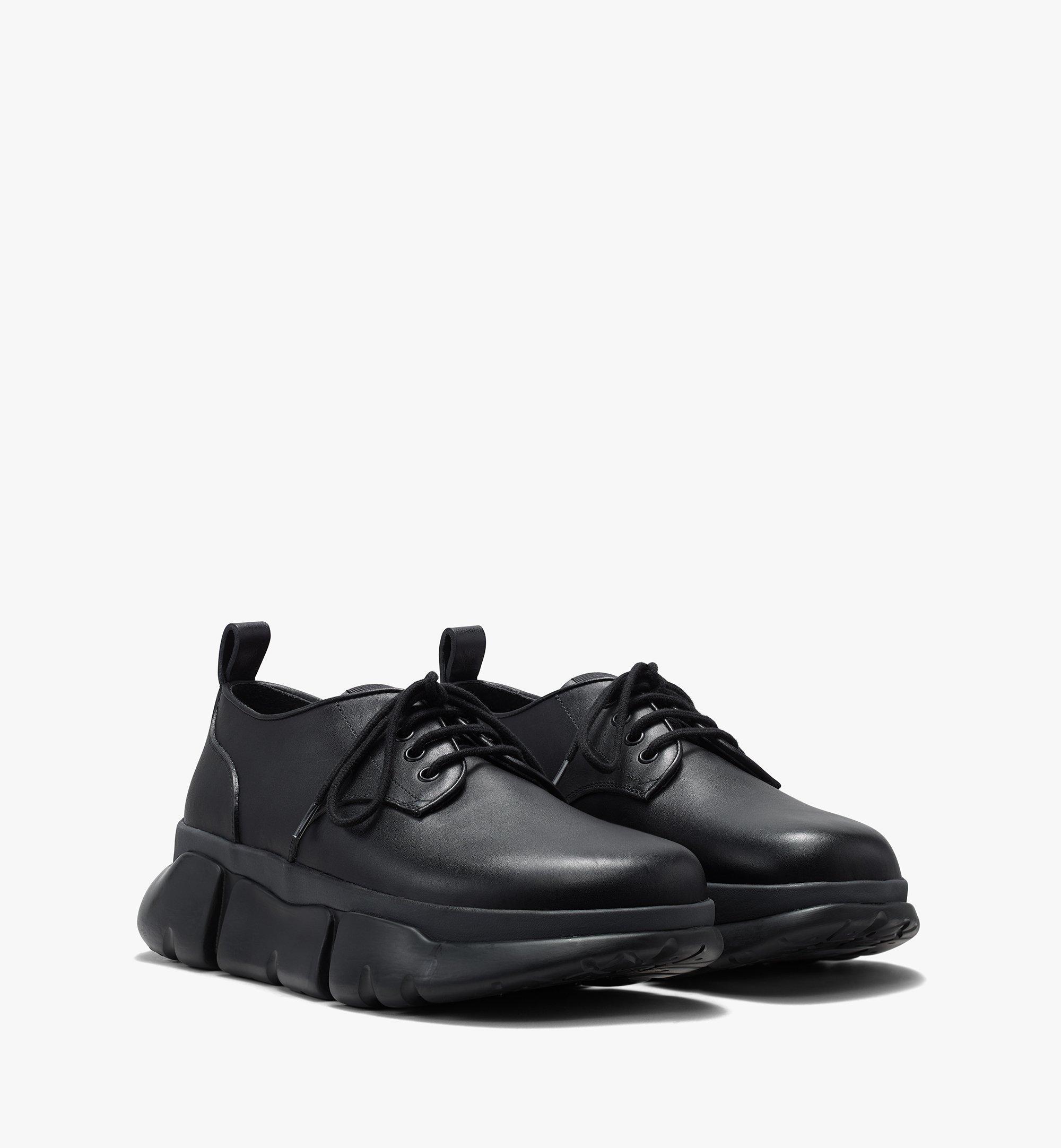 Mcm Men's Resnick Dress Sneaker In Calfskin Leather In Black