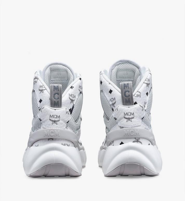 MCM Men's High-Top Himmel Sneaker in Visetos White MEX9ANX03WS041 Alternate View 3
