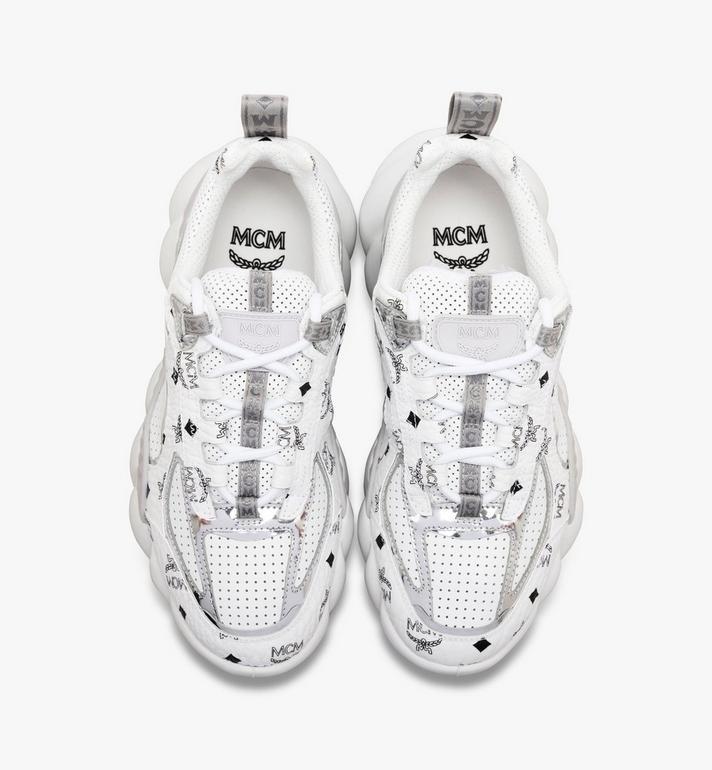 MCM Men's Low-Top Himmel Sneaker in Visetos White MEX9ANX05WS043 Alternate View 4