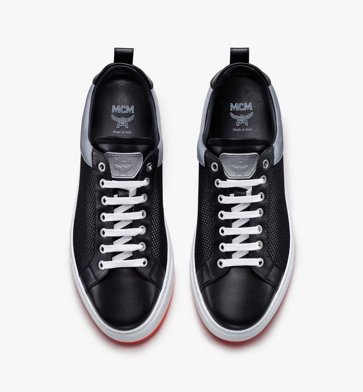 MCM Men's Resnick Low-Top Sneaker in Reflective Mesh Black MEX9ARA71BK043 Alternate View 5
