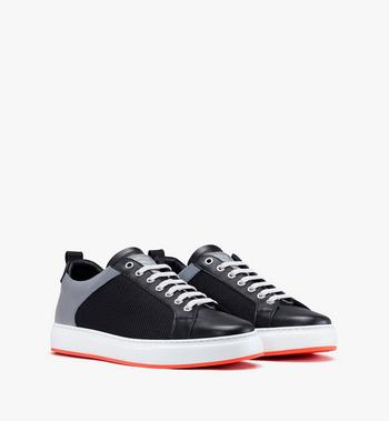 MCM Men's Resnick Low-Top Sneaker in Reflective Mesh Alternate View