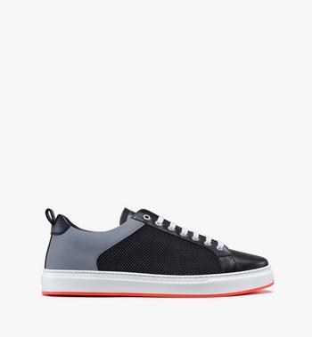 MCM Men's Resnick Low-Top Sneaker in Reflective Mesh Black MEX9ARA71BK044 Alternate View 2