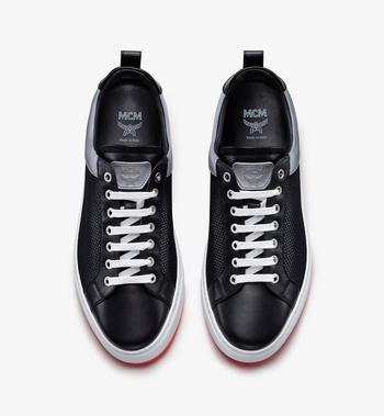 MCM Men's Resnick Low-Top Sneaker in Reflective Mesh Black MEX9ARA71BK044 Alternate View 5
