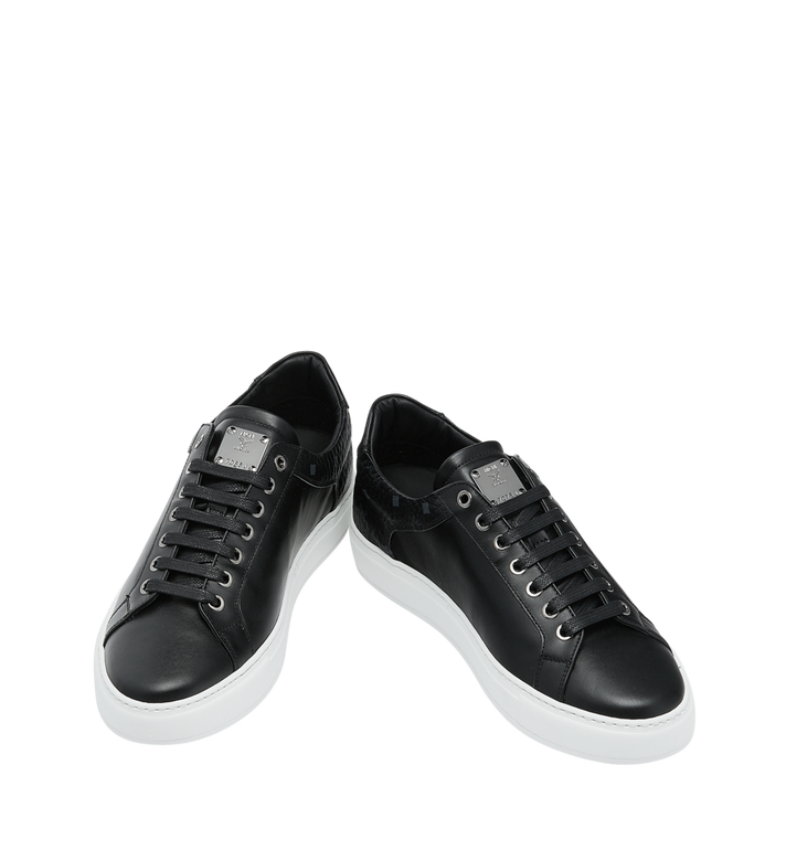 MCM Men's Low Top Sneakers in Visetos and Leather Black MEX9S2I03BK041 Alternate View 4