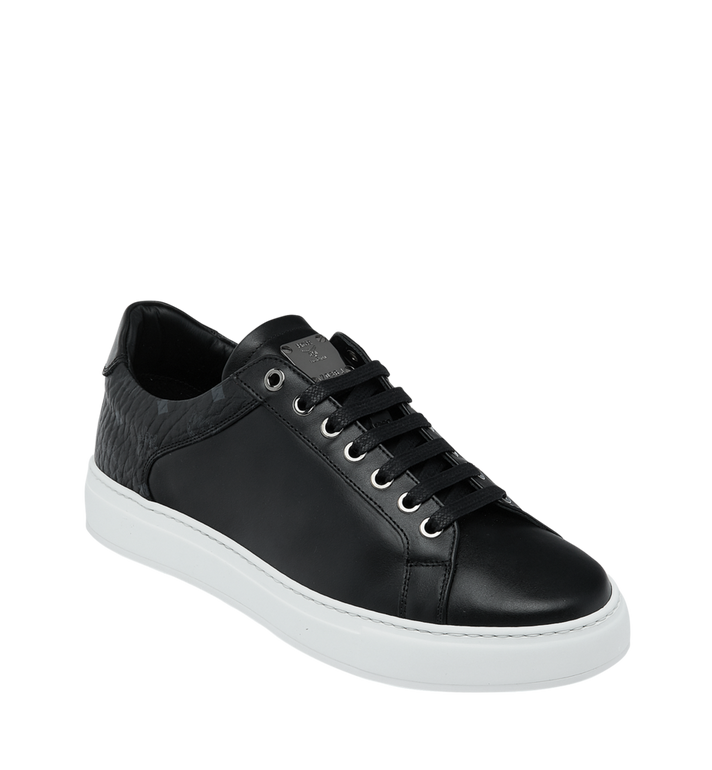MCM Men's Low Top Sneakers in Visetos and Leather Black MEX9S2I03BK042 Alternate View 1