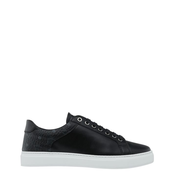 MCM Men's Low Top Sneakers in Visetos and Leather Black MEX9S2I03BK042 Alternate View 2