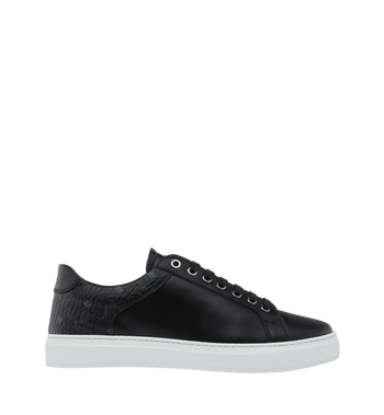 MCM Men's Low Top Sneakers in Visetos and Leather Black MEX9S2I03BK044 Alternate View 2