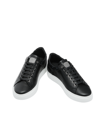 MCM Men's Low Top Sneakers in Visetos and Leather Black MEX9S2I03BK044 Alternate View 4